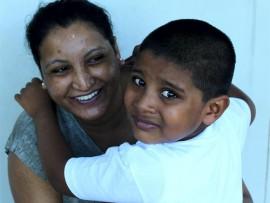 Proud mom Varsha Guriah says goodbye to her son Gaurav.