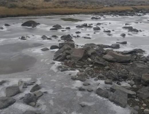 Light snow fall this morning at Sani Pass Mountain lodge Pic: Snow Report SA