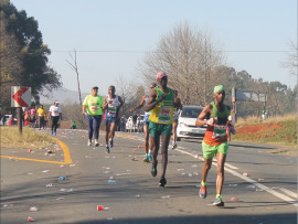 Runners just outside Howick completing the Mandela Marathon that took place on Sunday