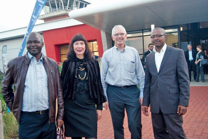 Msunduzi Mayor, Chris Ndlela, Finance MEC Ina Cronje, Treasury crack team member Jon Heeger, and Treasury Head, Simiso Magagula at the official opening of the PMB Airport Terminal Building and Reconfigured apron