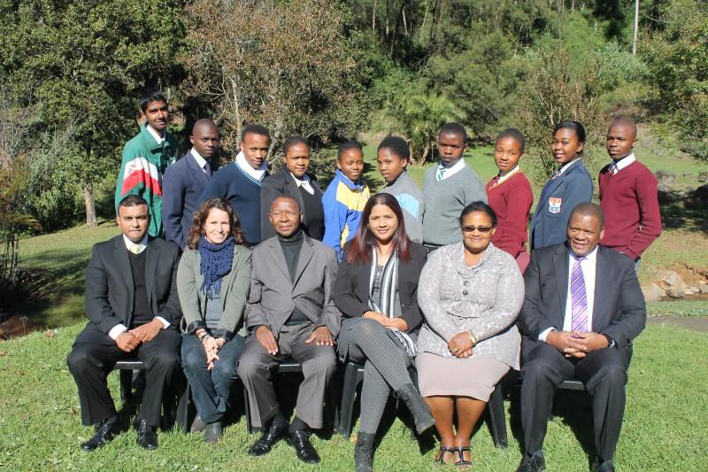 Back, left to right: Virusan Naidoo (Howick Secondary School), Sakhile Msweli (uMlulama Secondary), Siyanda Shange (Mconjwana High), Nqabisa Taliwe (Northbury Park Secondary), Bongeka Sibiya (Sukuma Comprehensive School), Lindani Dlamini (Richmond Combined High School), Zandile Makhaye (Jabula Combined School), Anele Mthembu (Carter High School), Lungisani Makhathini (Mpophomeni High School). Front, left to right: Dashen Patha (Chairperson of KZN In School Youth), Nikki Raw (KZN regional manager for the Saville Foundation), Artwell Hlengwa (KZNFLA Chairperson), Stacey Francis (CEO of Business World), Mary Schalkwyk (Msunduzi Municipality councillor), Themba Mathe (Ithala Communications and Marketing Executive).