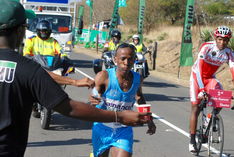 Comrades 2015 maritzburg sun gift kelehe at the capital newspaper stand at lynfiled park pic mark wing negle Images