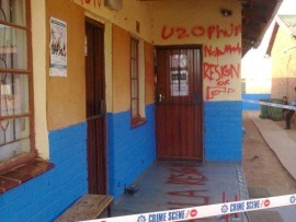 The graffiti that was spray painted on the school walls that led school principal Nokuthula Magwanyana to lay a charge of intimidation