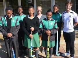 Lerato Sithole, Kimberleigh van Jaarsveld (Quins Timber Fellers), Zekhethelo Bhengu, Conor Killeen (Bisley Park Head of Sport), and Kwanele Ngcobo, Zethembiso Zakwe, Sphume Shandu
