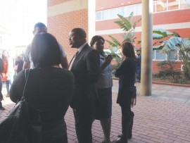 MEC of Education Mthandeni Dlungwane  supporting parents at Monday's bail application