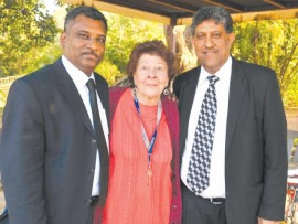 Attorney Thegan Chetty from Siva chetty and Company and Advocate Rocky Ramdass celebrate the awarding of over R900 000 in damages for 85-year-old Isabella Smith. Photograph by Shan Pillay