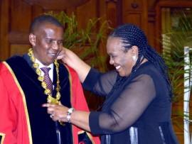 Deputy Tourism Minister Barbara Thompson congratulates newly-elected Msunduzi Mayor  Themba Njilo at Friday's first sitting of Msunduzi Council