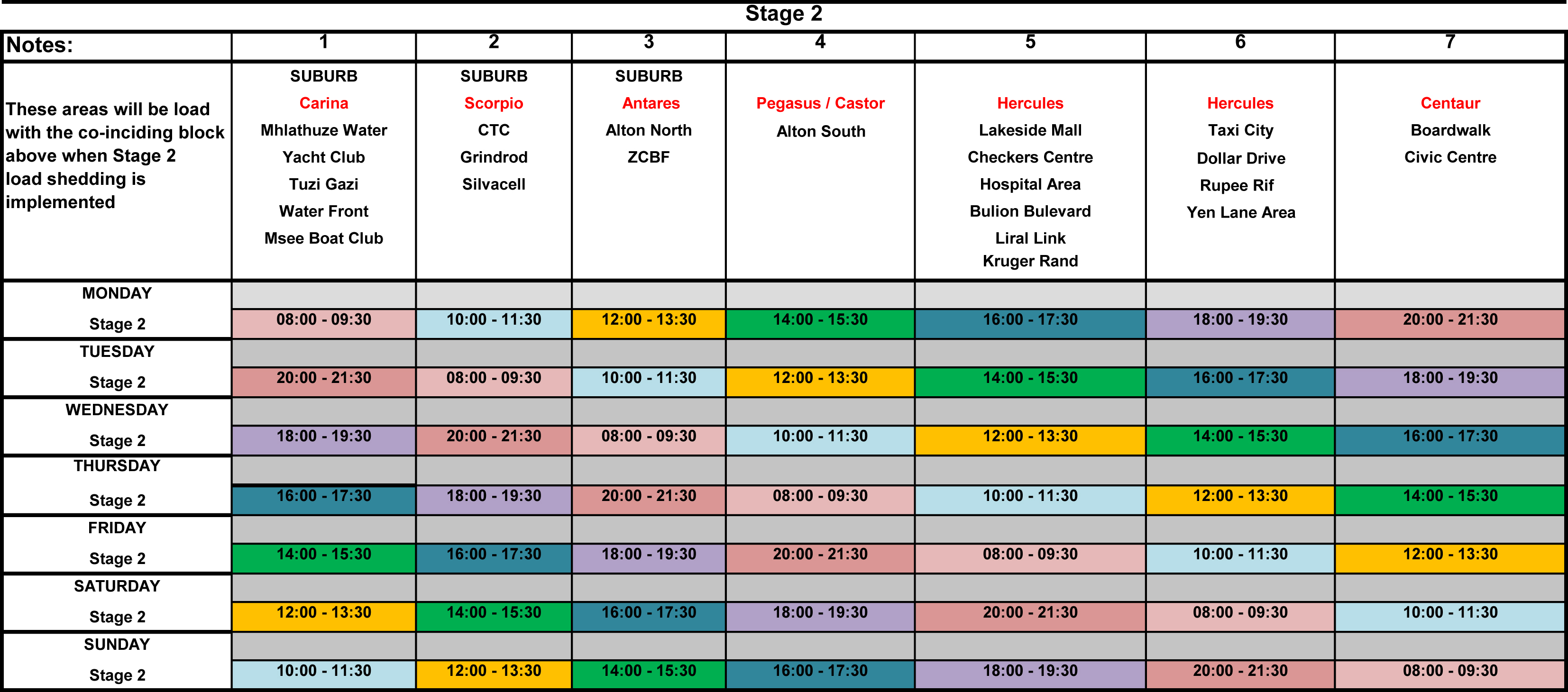 Loadshedding Schedule Hd: New Load Shedding Schedule For UMhlathuze