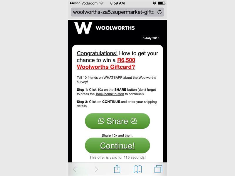 Woolworths gift card sms is a scam zululand observer once you have completed the questionnaire you are required to share it via other social media applications with 10 friends negle Image collections