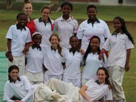 The jubilant first XI girls team with coach Marilise Geringer    PHOTOS: Debbie Lane