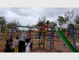 Children at the Inkosi SH Gumede Crèche near Hluhluwe will, from next year, have much fun on this jungle gym donated along with many other necessary items by Standard Bank PHOTO: Supplied