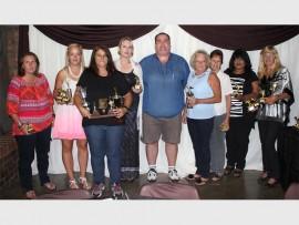 Taking home the trophies in the Ladies Division - Karen Leaity, Anke Swartz, Adel Goddard, Hester Fourie, Commodore Corne Kleynschmidt, Nonnie Coetsee, Kobie Gerricke, Angie Pillay, Debbie Hammond