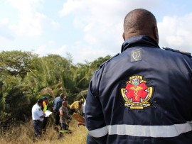 A KZN EMS paramedic on the scene of a serious crash on the R34 near Empangeni. Photo - Kyle Cowan