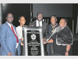 Honouring the former Finance Minister were  Dean of Empangeni Circuit  Rev  Sicelo Ndlovu, church member Silindile Sibiya, guest speaker Nhlanhla Nene, BB Biyela and Nhlanhla Nenen's wife Lisa