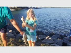 Pia Redinger of Richards Bay Primary School landed a 500gram grunter PHOTO: Pitte Randall