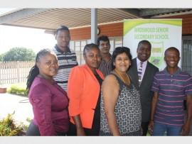 Promoting social awareness at Birdswood Secondary School were speakers and facilitators (back) Jabulani Bukhosini (DSD), Babes Munian (AA Brackenham), Principal Stanley Mazibuko, Muzi Gumede (drugs activist); (front) Sindi Mthethwa (DSD), Jabu Mashigo (DSD) and Gloria Naidu (UCCC)