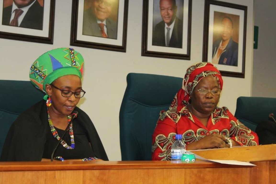 uThungulu Mayor Thembeka Mchunu (left) delivers her final budget speech to Council, with Speaker Alice Mthembu supporting  PHOTO: Rekha Naidoo