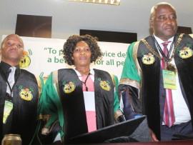 The newly elected uMfolozi Municipality leadership - Speaker Zakhele Mfusi, Deputy Mayor S'mangele Thabethe and Mayor S'mangaliso Mgenge