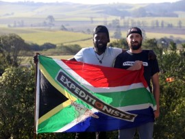 Simphiwe 'Fiddy' Ngcobo and Thommo Hart taking a break in eShowe over the weekend PHOTO: Larry Bentley