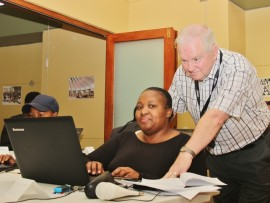 Nokuthula Zulu from the Nawe Zifunze Disabled Association in Richards Bay is seen here with Alan Martin. Nokuthula says she is excited about the new skills she has acquired and is ready to help others set up their own website