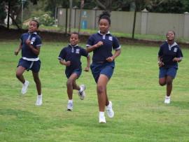Sagewood athletes Kuhle Mhlango, Thembeka Ndwandwe, S'bonile Nzuza and Akhona Mthethwa push hard during the suicides section of the challenge
