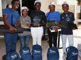 National Astronomy Quizz winners with their teacher MC Buthelezi (left) - Ziyanda Msibi, Nosipho Nhleko, Nokwanda Nxumalo and Nonhlanhla Gama PHOTO: Dave Savides