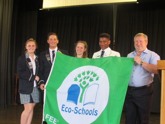 Proud ambassadors of the Eco-Schools Programme are  Danielle van Onselen, Gunther Kelling, Tessa Hubble, Phila Maxase and Prinicipal Mr Shaun McMurtry