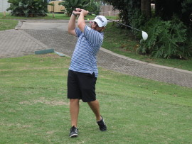 A Division winner Jeff Geldenhuys smashes a monster drive off the first tee PHOTOS: Richard Springorum