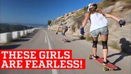 Extreme Downhill Skateboarding Girls