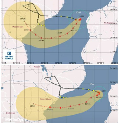 Tropical Cyclone Idai's expected landfall trajectory