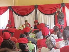 UFloyd Shivambu ngesikhathi ekhuluma namalunga e-EFF eCopesville ngoMgqibelo odlule.