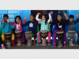 Pearl Bakare, Tyra Sahadew, Leruo Sibeko, Diya Moonsamy, Kaylei Naidu and Va'Cheylon Govender play drums.