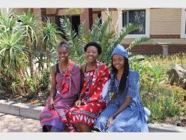 Uyanda Sibiya, Katlego Mosako and Bonolo Nape celebrate Heritage Day at Beaulieu College.
