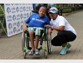 Sibusiso Smith with Nappy Run ambassador, Eloise Cupido.