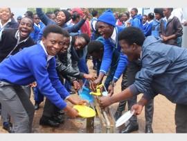 Push taps assist in saving water at Winnie Mandela Secondary School.