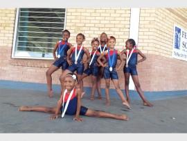 The  winning Midrand Primary gymnastics team.