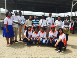 Founder of Divine Favour Mentorship and Coaching, Patience Baloyi with her team members and some of the beneficiaries of the donation.