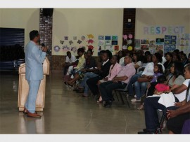 School principal, Silas Pillay, addresses parents.