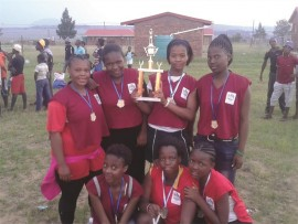 The Ingagane under 17 netball girls are proud of their achievement.