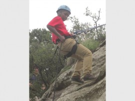 Kwandile Ndlela abseiled down the cliff with ease.