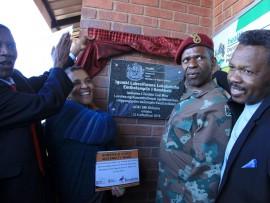 KZN Health MEC Dr Sibongiseni Dhlomo unveils the plaque, to mark the official opening of the maternity ward, at Somkhele Clinic in Mtubatuba.