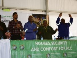 Cllr Matthew Shunmugam, Mayor, Afzul Rehman, MEC Human Settlements and Public Works, Ravi Pillay, District Mayor, Jabu Mkhwanazi and Cllr, Nqaphelani Ngcobo.
