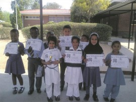 The top Grade 1 pupils from S.E. Vawda, Suryaville Primary and Lennoxton Primary.