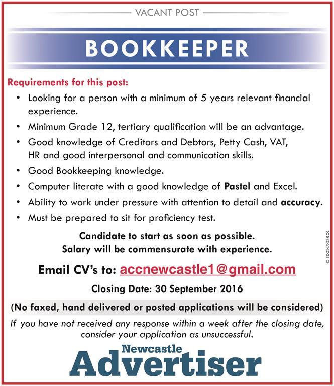 Bookkeeper-vac-Medium Sample Job Adver For Bookkeeper on