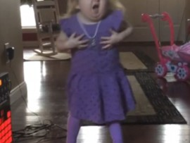 Seven-year-old Audrey Nethery jamming to Bob Marley.