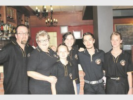 Artisan's Cafe staff: Justin, Ilana and Simone Gössmann with Claudine Ferreira, Anthony Page and Yolandie Botha.