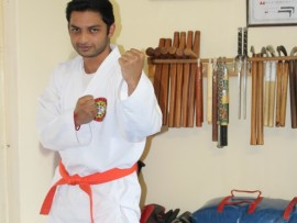 Shyllin Moodley strikes a karate pose.