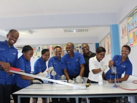 Madadeni Science Centre's dedicated team show off some of their experiments.
