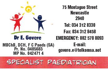 Dr E. Govere Tel: 034-312-8330
