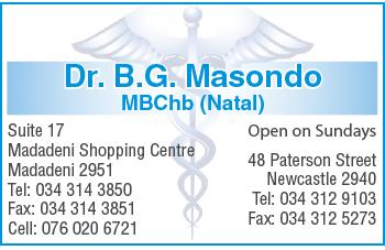 Dr. B.G. Masondo Tel: 034-312-9103